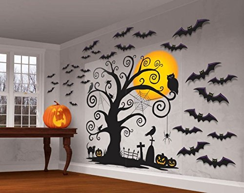 [Halloween Spooky Cemetery Giant Wall Decorations - 32 pieces] (Road Sign Halloween Costumes)
