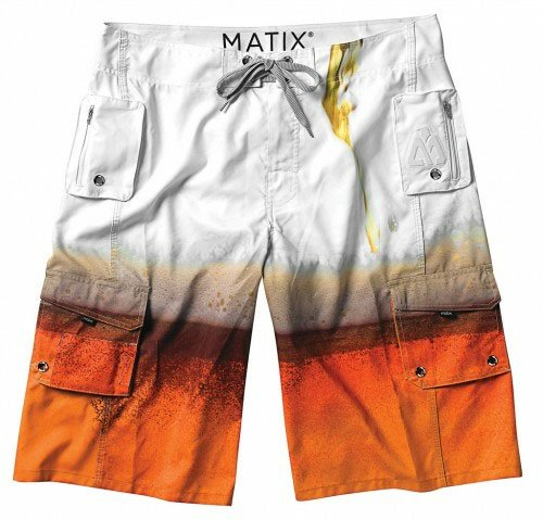 Matix Board Shorts Surf Trunks GUSTO FOAMIE WHITE Sz 28 Skate ()