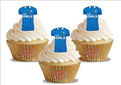 fan products of 12 x Sheffield Wednesday FC Soccer Shirts - Choose From UNFLAVOURED or VANILLA-SWEETENED Toppers - Fun Novelty Birthday PREMIUM STAND UP Edible Wafer Card Cake Toppers Decorations