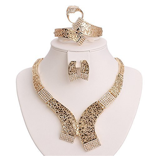 Moochi 18K Gold Plated Crystal Necklace Earrings Ring Bracelet Jewelry Set Costume Wedding by Moochi (Image #1)