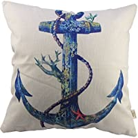 "HOSL Blending Linen Square Throw Pillow Case Decorative Cushion Cover Pillowcase for Sofa Blue Rusty Anchor with Coral 18 ""X18 """