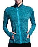 UDIY Women Active Jacket-Breathable Running Thumb Jacket with Two Sides Pockets