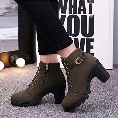 Martin Verde Botas para Cordones Boots Ejercito Mujer de UvUq8rw