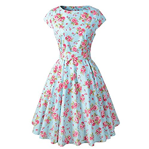 Chicanary Womens Cap Sleeve Vintage Tea Dress with Belt Green Large