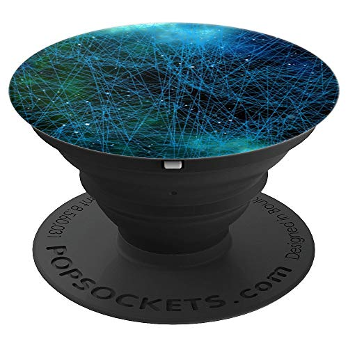Technology Network Blue Points and Lines - PopSockets Grip and Stand for Phones and Tablets by High Tech Design