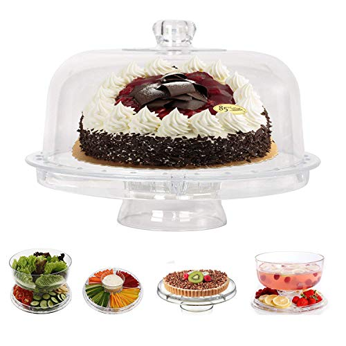 KARMAS PRODUCT 6 in 1 Cake Stand with Dome Lid,Multifunctional Serving Platter and Cake Plate, Salad & Punch Bowl,Clear Acrylic,12