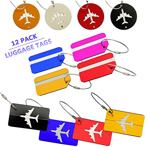 12 Pack Aluminum Alloy Luggage Tags - Bag Tag Travel ID Labels...
