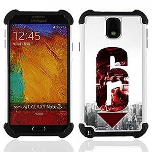 """SAMSUNG Galaxy Note 3 III / N9000 / N9005 - 3 en 1 impreso colorido de Altas Prestaciones PC Funda chaqueta Negro cubierta gel silicona suave (6 Pistola"""")"""