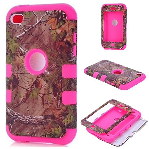 Kecko(TM) Defender Tough Armor Tree Camo Shockproof Dual Layer High Impact Camouflage Hunting Tree Forest Hybrid Hard Suitable Fit Case Cover For ipod Touch 4 4th Only--Forest/Tree/Leaves On The Core (Hot Pink)