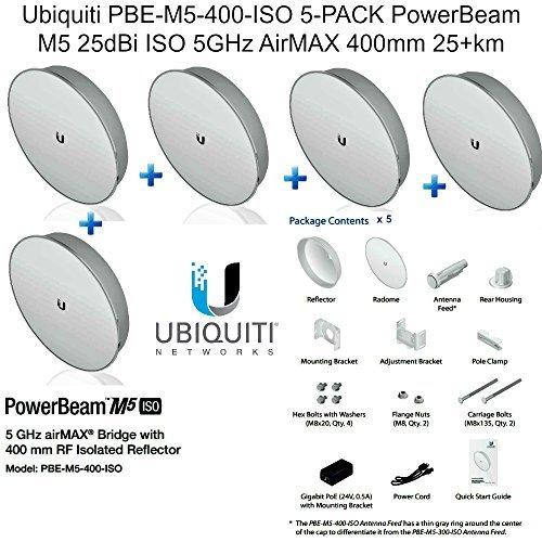 Engineering Micro Bridge (Ubiquiti PBE-M5-400-ISO 5-PACK PowerBeam M5 25dBi ISO 5GHz AirMAX 400mm 25+km)