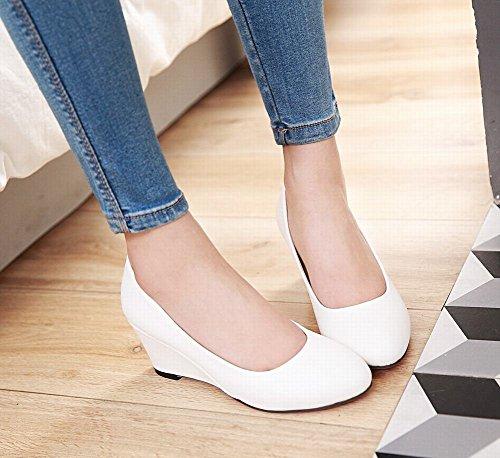 Mee Shoes Damen Keilabsatz runde einfach Pumps Weiß