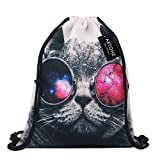 Artone Hip Hop Cat Canvas Drawstring Bag Travel Daypack Sports Portable Backpack Black Beige