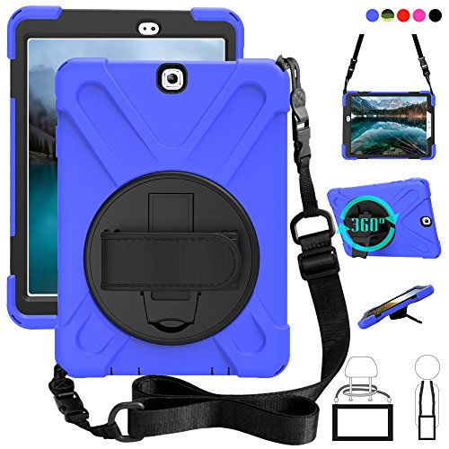 Galaxy Tab S2 9.7 Case, dropproof High Impact Resistant Heavy Duty Armor Cover W/Hand Strap Handle Shoulder Belt Carry Skin for Samsung SM-T810/SM-T813/SM-T815 T810 9.7 inch Tablet (Blue)