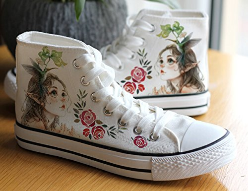 Figurine Peinture Aquarelle Femmes Filles Chaussures Espadrilles En Toile Blanc1