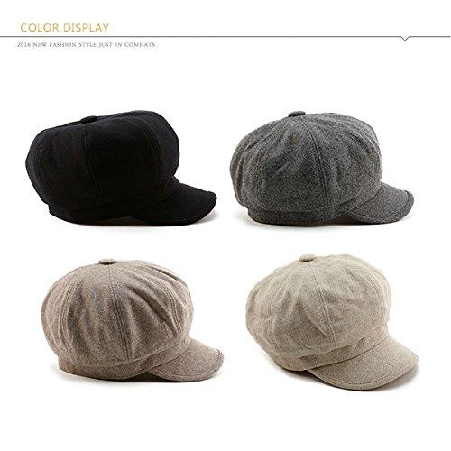 SIGGI Womens Merino Wool Visor Beret Newsboy Cabbie Cap Winter Hats with Lining Spring 67145_black,Medium by SIGGI (Image #5)
