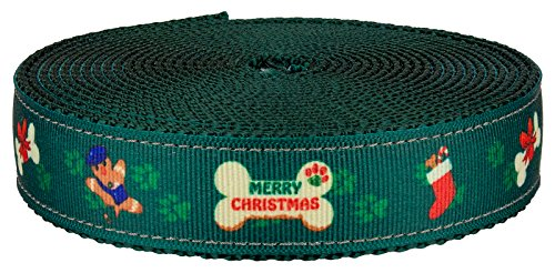 Country Brook Design - 1 Inch Doggy Christmas on Green Nylon Webbing, 5 Yards