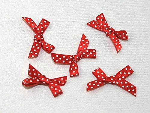(Polka Dot Satin Ribbon Bows Red/White - each)