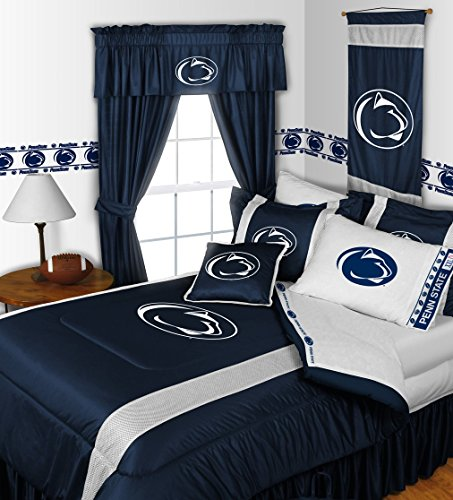 Penn State Nittany Lions KING Size 14 Pc Bedding Set (Comforter, Sheet Set, 2 Pillow Cases, 2 Shams, Bedskirt, Valance/Drape Set (84-inch drape length) & Matching Wall Hanging) - SAVE BIG ON BUNDLING! by Sports Coverage