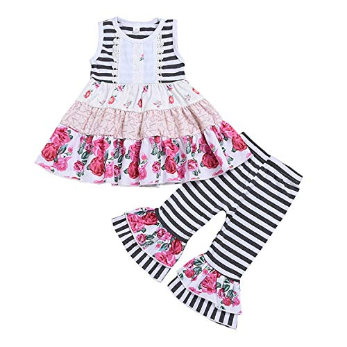 puseky Baby Girl Toddler Kid Floral Ruffle Sleeveless Dress Stripe Pants Outfits Clothes Set (Floral,3T) -
