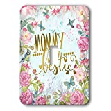 3dRose Uta Naumann Sayings and Typography - Blue Artprint Flower Frame Gold Typography - Mommy Is My Bestie - Light Switch Covers - single toggle switch (lsp_289851_1)