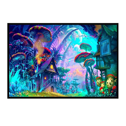Haihuic 60x40 cm Impresión Trippy psicodélica del Cartel Arte Astral Abstracto Abstracto Surrealista de Digitaces Office...
