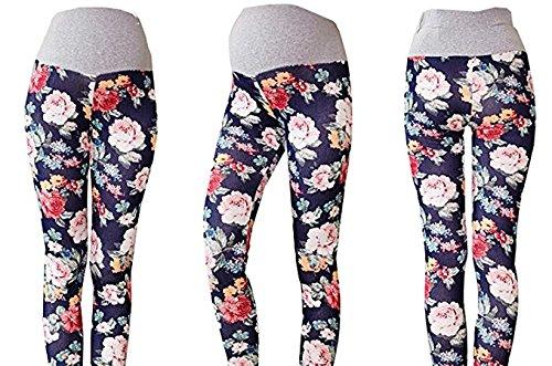 GIFTPOCKET Women's Belly Maternity Printed Leggings High Waist Render Pants, Dark Blue, (US) L-(CN) XXL