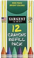 Sargent Art 22-0876 12-Count Tuck Box Standard Size Crayon Refill, Emerald Green