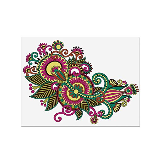 (C COABALLA Henna Heat Resistant Table Mat,Traditional Ukrainian Design Hand Drawn Floral Pattern Multicolored European Design for Dining,15.7