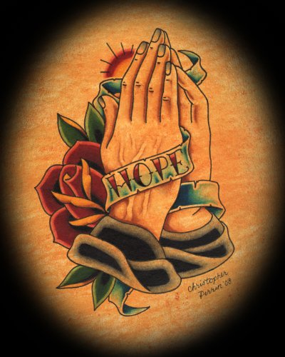 (Hope by Christopher Perrin Banner Praying Hands Tattoo Giclee Art Print)