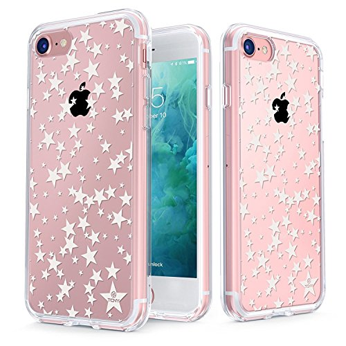 True Color Case Compatible with iPhone 7 Stars Case/iPhone 8 Case Clear-Shield Floating Stars Printed on Clear Back - Soft and Hard Thin Shock Absorbing Protective Bumper Cover - White