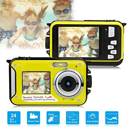 Dual Screen Waterproof Underwater Sports Action HD Mini Digital Video Recorder Camera,24MP 1080P Point and Shoot Digital Camcorder Camera-Yellow (Camera Red Eye)