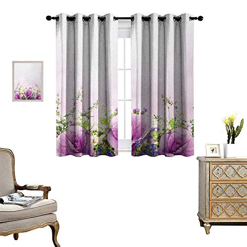 Anyangeight Flower Window Curtain Drape Spring Cabbage Flowers in Fragrant Bouquet with Partially Shaded Color Romance Decorative Curtains for Living Room W72 x L63 Lavender Green