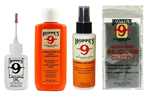 Hoppe's No. 9 Lubricating Oil Cleaning Kit, 14.9 ml Precision Bottle, 4 fl oz Lubricant Pump Spray, 2 1/4 oz Squeeze Bottle Refill. Silicone-Treated Gun Cloth.