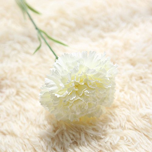 VEFSU Artificial Fake Flowers Carnations Silk Floral Wedding Bouquet Party Home Decor (White)