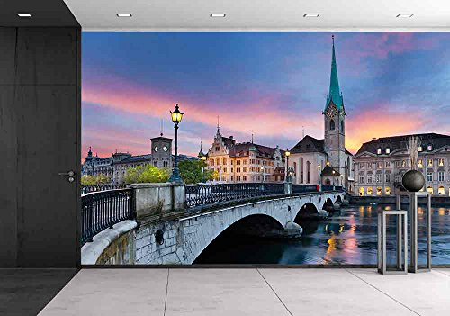 wall26 - Zurich Image of Zurich, Capital of Switzerland, During Dramatic Sunset - Removable Wall Mural | Self-adhesive Large Wallpaper - 100x144 - Zurich Images
