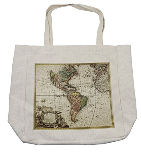 Lunarable Wanderlust Shopping Bag, Old Map Europe North South America Canada Medieval Atlantic Heritage Travel, Eco-Friendly Reusable Bag for Groceries Beach Travel School & More, (South America Costume Ideas)
