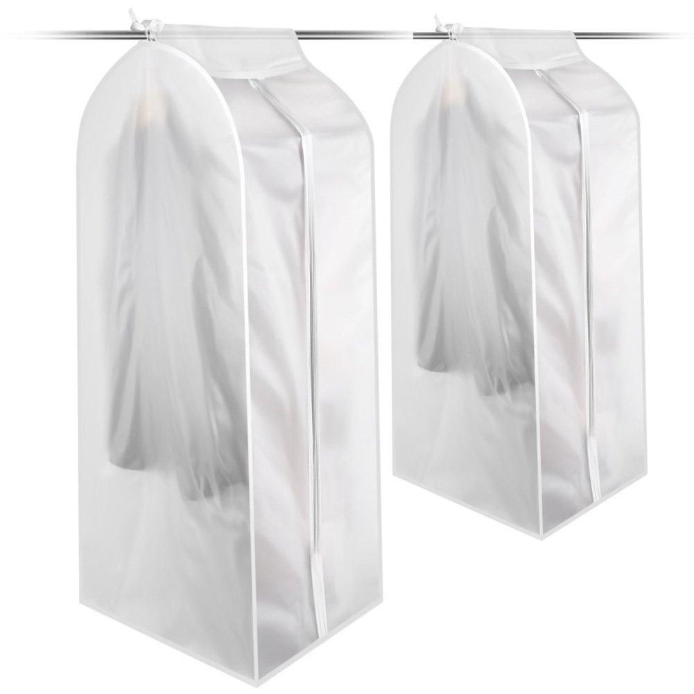 vestiti Covers Transparent 2PCS Vestiti Covers PEVA antipolvere vestiti cover borse con zip traspirante plastica trasparente di immagazzinaggio di lavaggio a secco