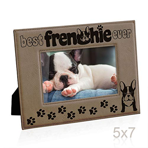 Kate Posh Best Frenchie Ever Engraved Leather Picture Frame, French Bulldog Photo Frame, Pet Memorial Gifts, New Puppy Gifts, Dog Lover Gift, Paw Prints on My Heart (5x7 Horizontal)