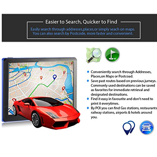 Xgody 886 7 Inch 8GB RAM Built-in / 256MB ROM Capacitive Touchscreen with Sunshade Spoken Turn-by-Turn Directions SAT NAV Car Truck GPS Navigation Lifetime Map Updates Speed Limit Displays by XGODY (Image #4)