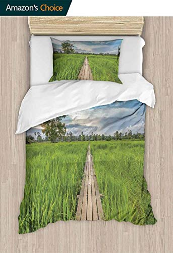- Kids Quilt 2 Piece Bedding Set, Old Wooden Bridge Between Rice Field with Sunlight at Khonburi Thailand, with Sham and Decorative 1 Pillows, Full Queen,59 W x 78 L Inches, Green Light Blue Tan