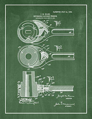 Reversible Ratchet-Wrench Patent Print Green Chalkboard with Border (5