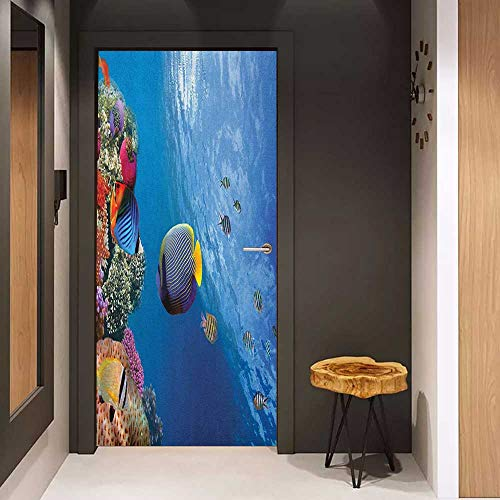 Onefzc Pantry Sticker for Door Under The Sea Tropical Emperor Long Living Angelfish in Underwater Exotic Marine Animal Image Sticker Removable Door Decal W30 x H80 Blue (Angel Envelope Seals)