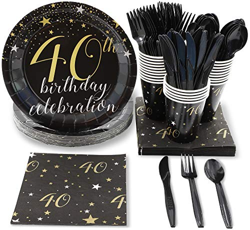 Blue Panda Black and Gold 40th Birthday Celebration Party Supplies - Plates, Knives, Spoons, Forks, Napkins, and Cups, Serves 24 -