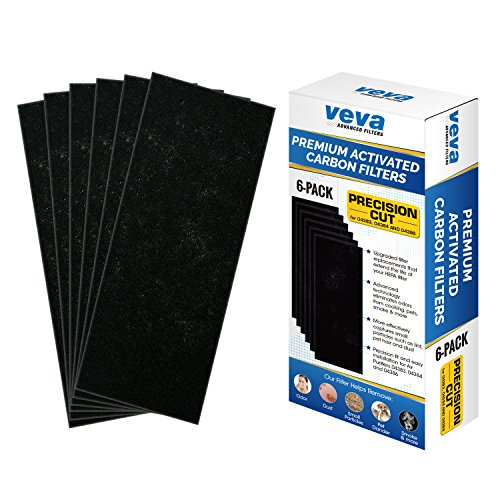 Full Size Premium Activated Carbon Pre Filter 6 Pack Compatible with Hamilton Beach TrueAir Air Purifier 04383, 04384 and 04386 for Pet, Smoke and Odor Eliminator, 100% Safe and Zeolite Free by VEVA