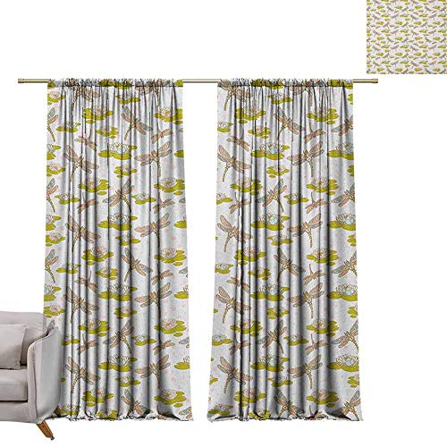 berrly Best Blackout Curtains Dragonfly,River Side Flowers Loddon Lilies Leaves with Mosaic Pattern Like Wings Image, Multicolor W84 x L84 Blackout Curtain Set