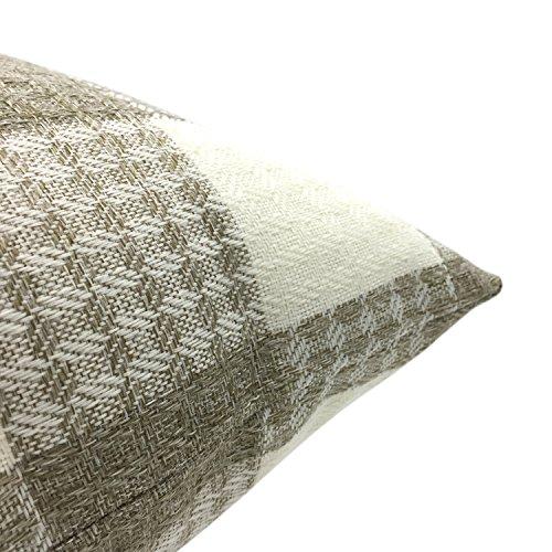 YOUR SMILE Retro Farmhouse Tartan Plaid Cotton Linen Square Decorative Throw Pillow Case Cushion Cover Pillowcase for Sofa 18 x 18 Inch, Set of 2 (Beige/New Checker) by YOUR SMILE (Image #7)