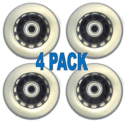 Chachlili Replacement Set of 4 75mm Clear Rubber Scooter Bike Ripstick Skateboard Wheels