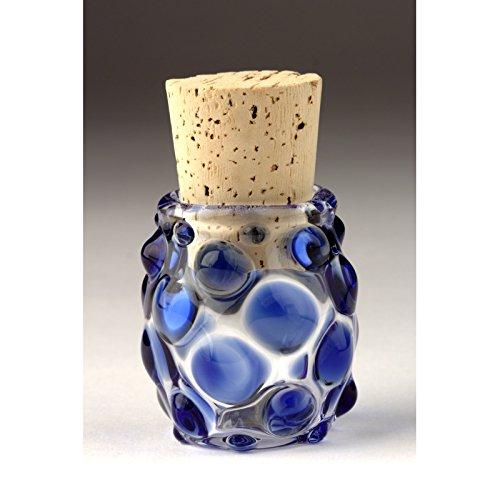 Blown Glass Small Polka Dot Jar - Blue (Glass Blown Jar Hand)