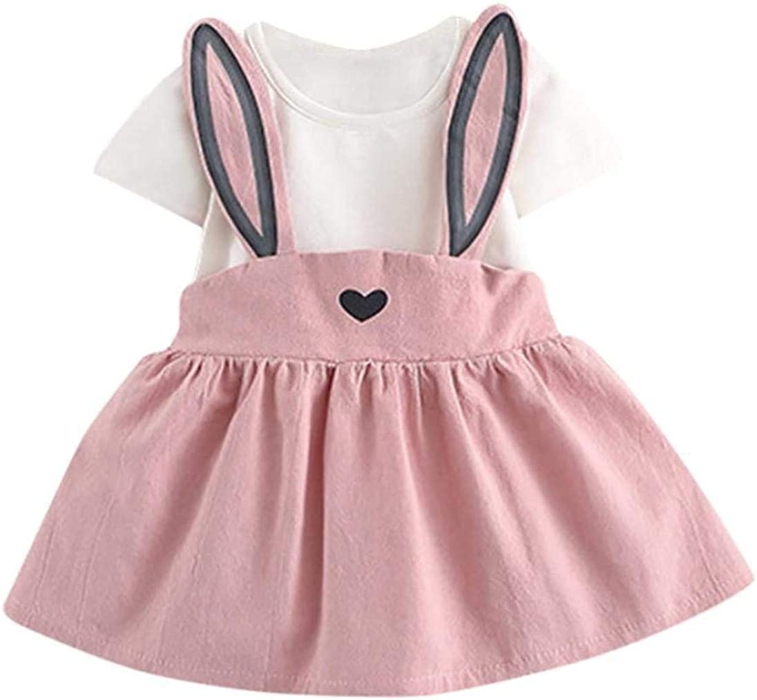 Toddler Baby Girls Summer Casual Cute Rabbit Ear Printing Sling Heart Splice Easter Dress