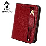 YALUXE Women's RFID Blocking Small Compact Leather Wallet Ladies Mini Purse with ID Window Red RFID